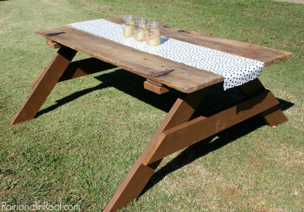 DIY picnic table made from an old barn door