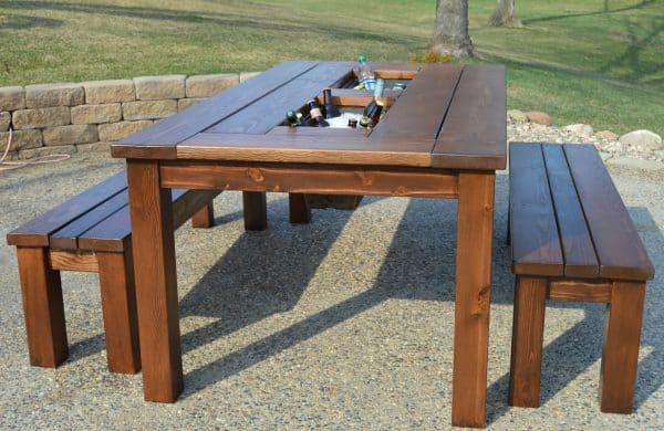 DIY picnic table with built in cooler