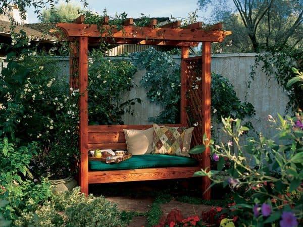 DIY arbor with bench