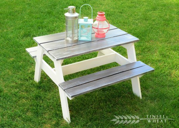 gray and white DIY kids picnic table