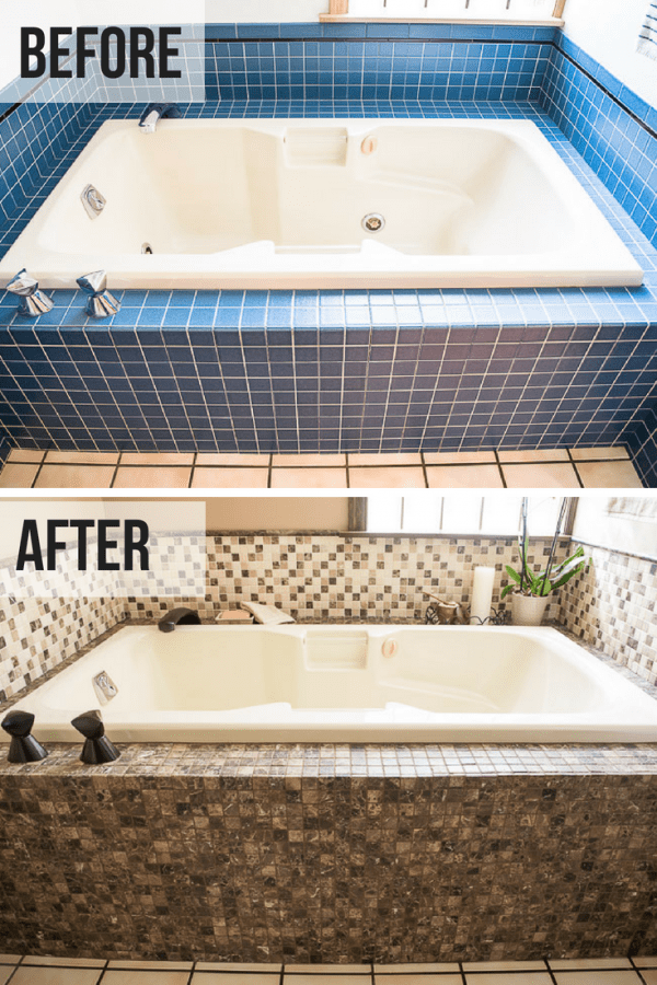 DIY bathroom renovation bathtub before and after