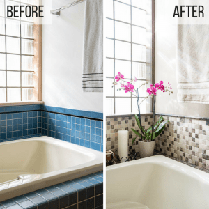 before and after of DIY bathroom renovation