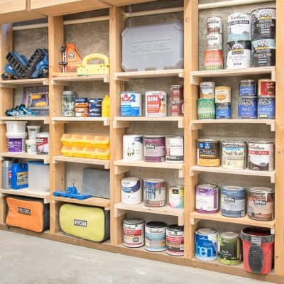 Between the Studs Shelves for Your Garage or Shed