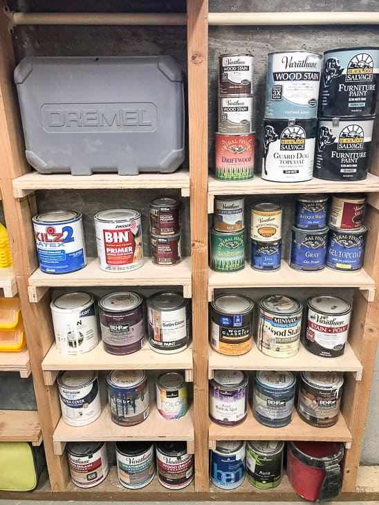 between the studs shelves with paint cans