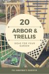 collage of four DIY arbor and trellis ideas