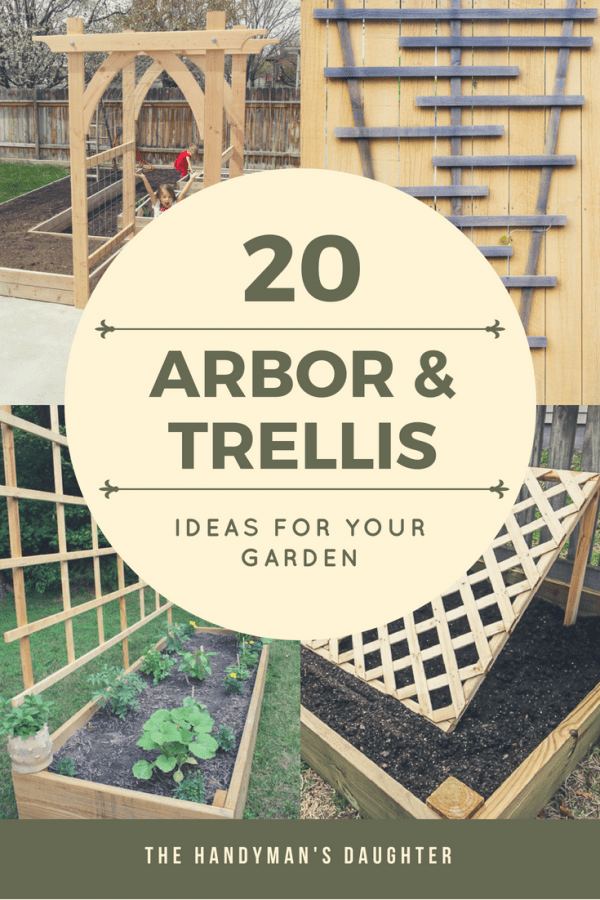 collage of four DIY arbor and trellis ideas