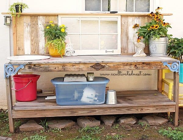 DIY potting bench from salvaged materials