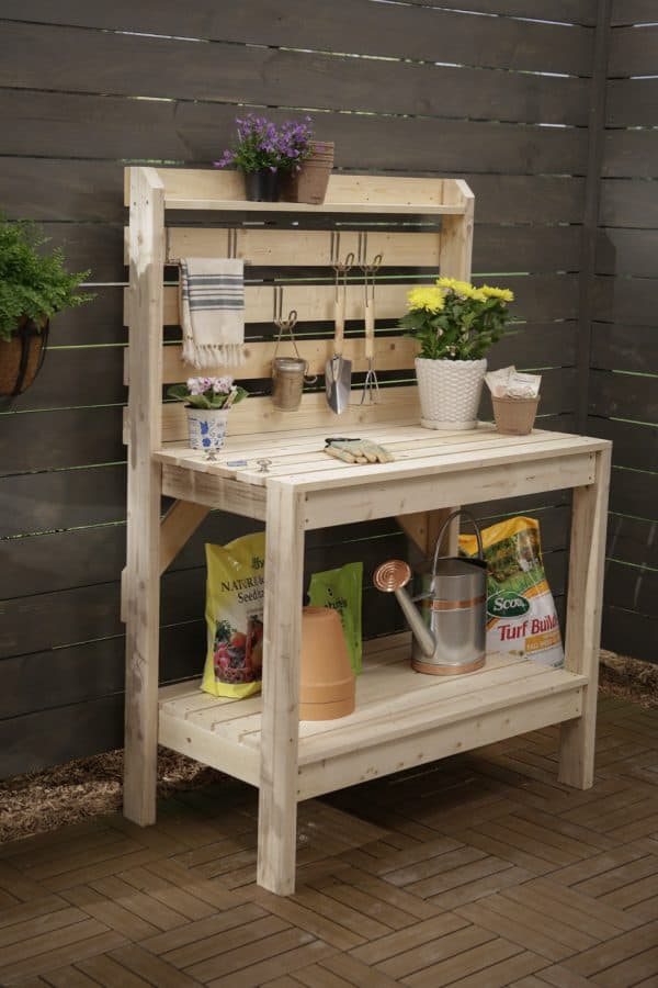 DIY potting bench with storage on back