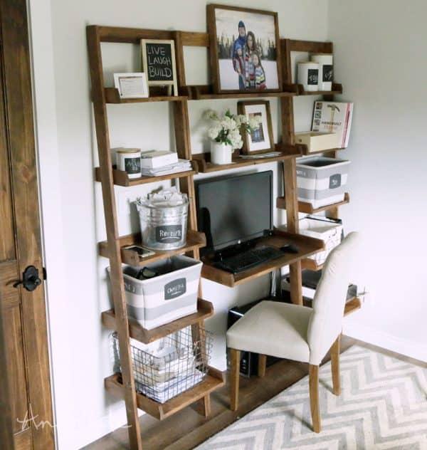 DIY desk plans - leaning wall ladder desk