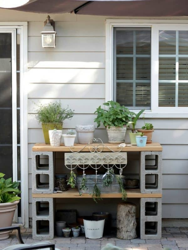 DIY potting bench made from cinder blocks