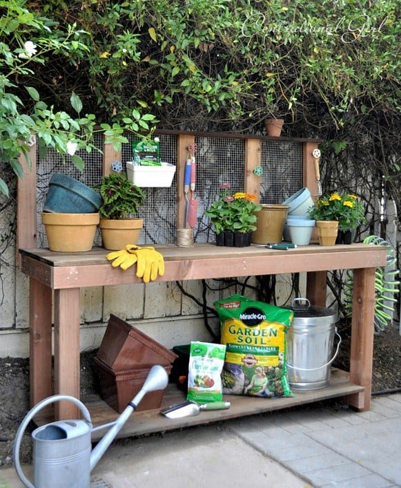 large DIY potting bench with mesh back