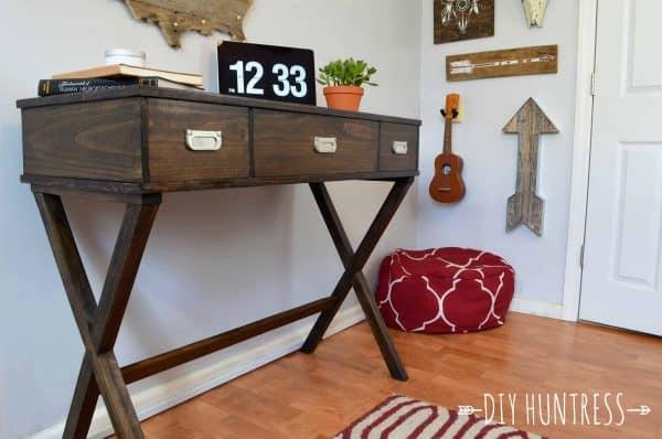 DIY desk plans - x leg desk with drawers
