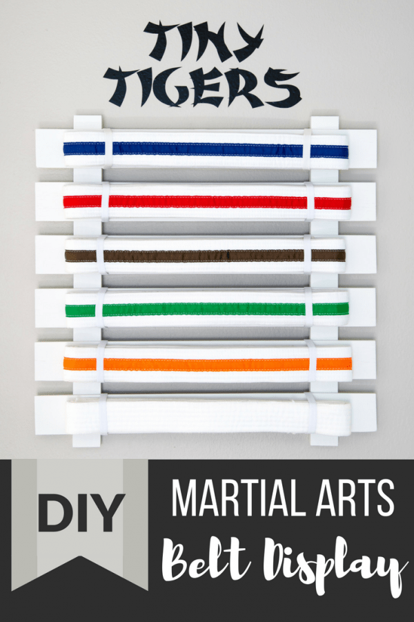 DIY martial arts belt display with text overlay