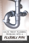 """under sink plumbing with flexible waste pipe with text overlay reading """"Solve Tricky Plumbing Problems with a Flexible Pipe"""""""