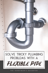"under sink plumbing with flexible waste pipe with text overlay reading ""Solve Tricky Plumbing Problems with a Flexible Pipe"""