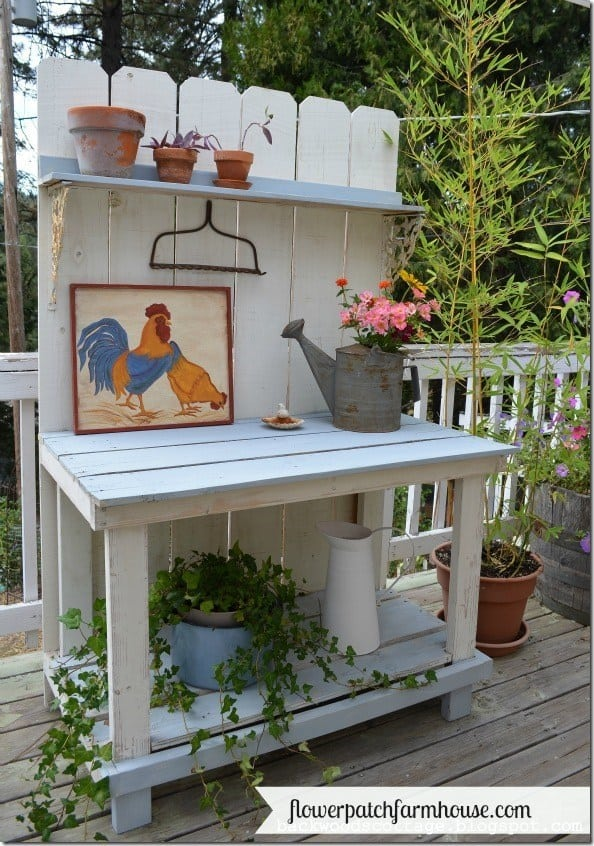 DIY potting bench made from fence pickets