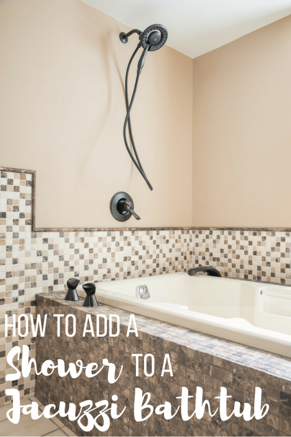 add shower to bathtub with text overlay