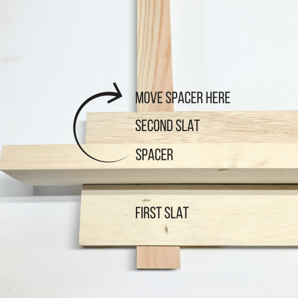 how to use a spacer in between slats