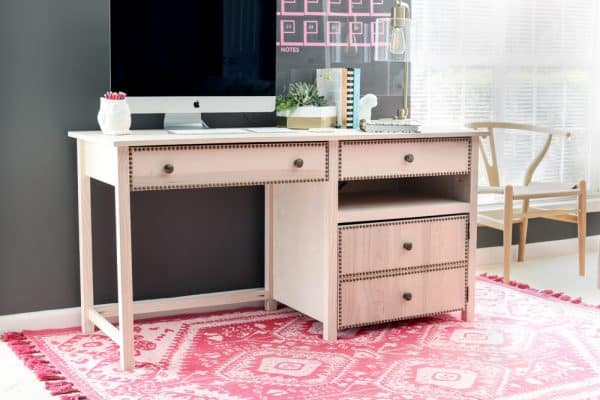 DIY desk plans - desk with printer storage