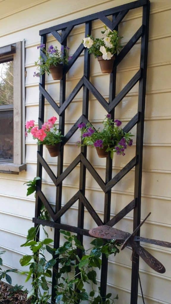 DIY trellis with chevron pattern