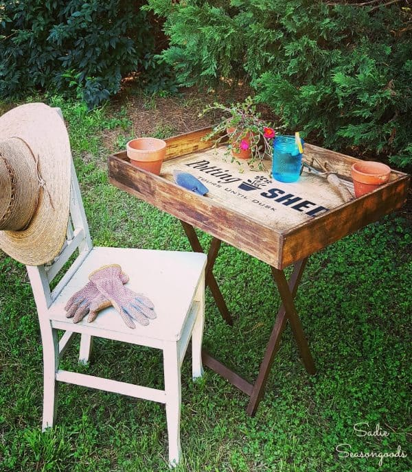 DIY portable potting bench with chair