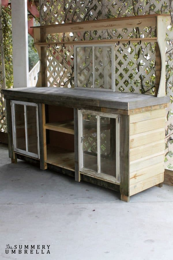 DIY potting bench made from reclaimed wood