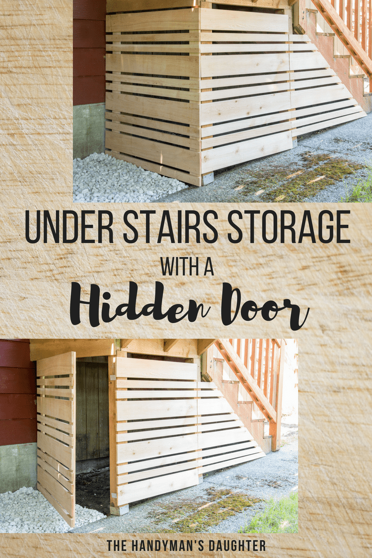 under stairs storage with a hidden door - removable fence panel on and off