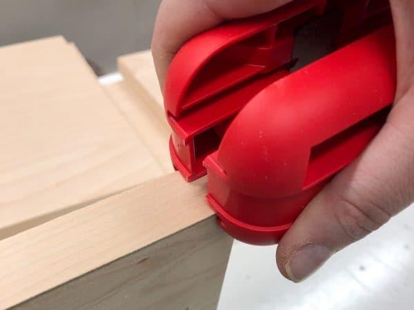edge banding trimmer at start of edge banding