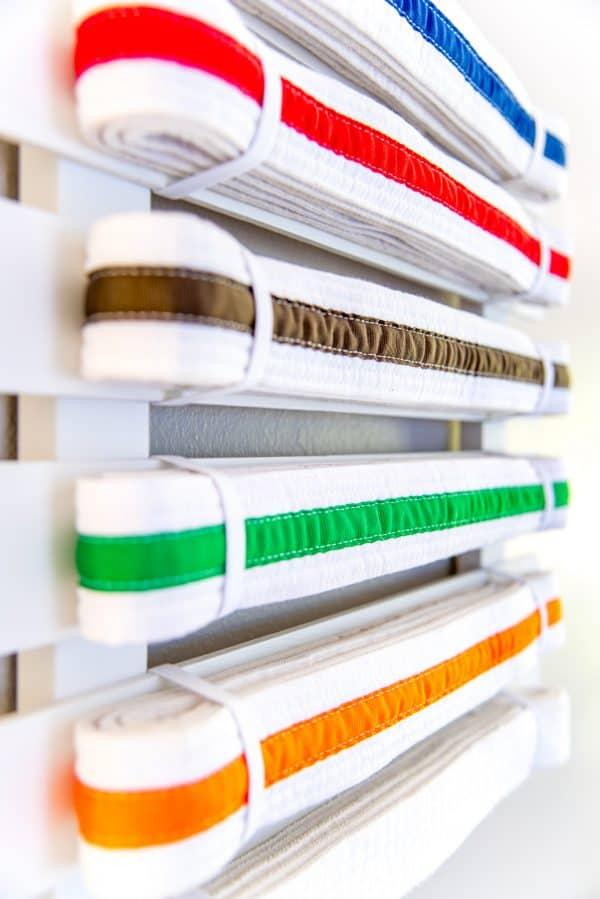 close up view of DIY martial arts belt display