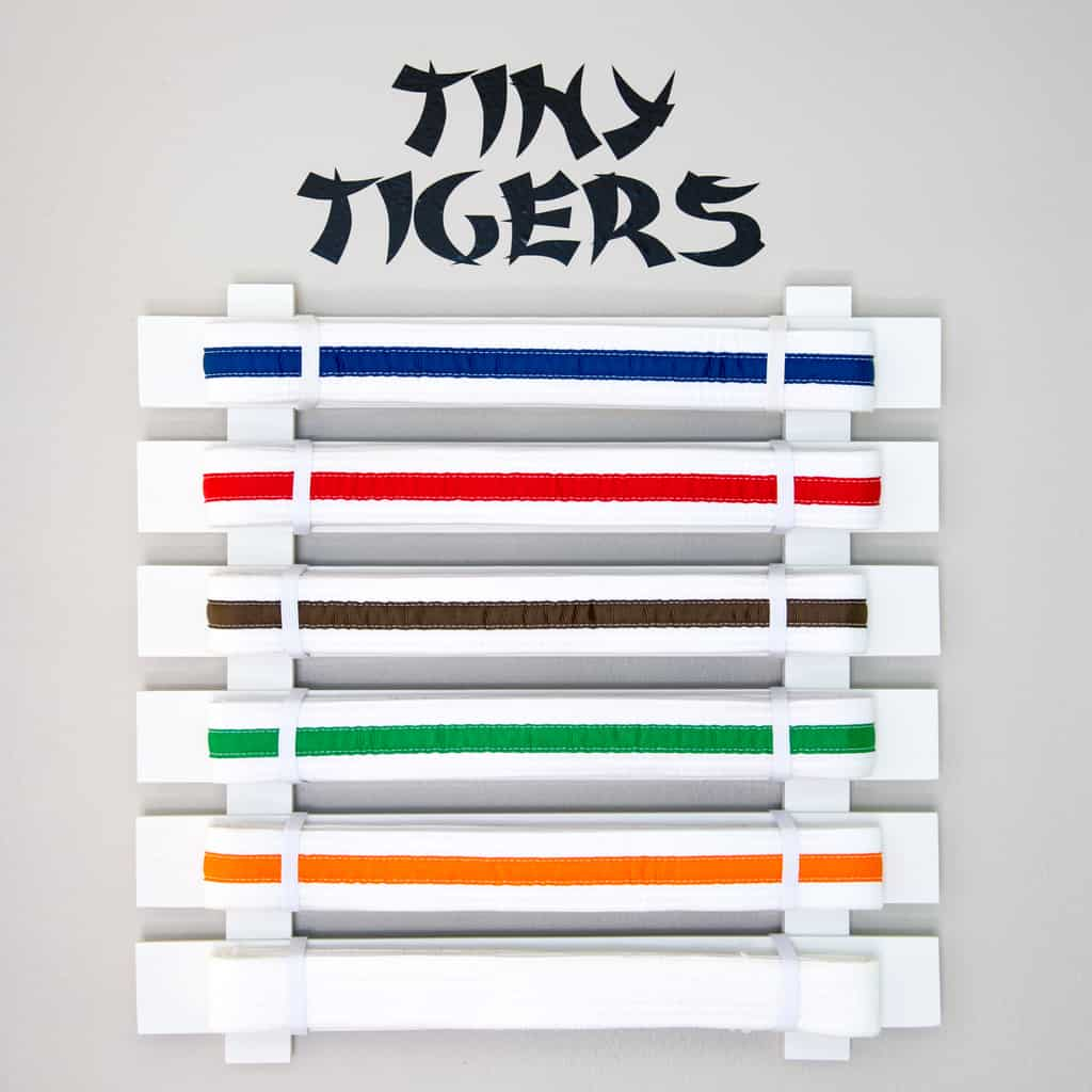 DIY martial arts display with different colored karate belts and Tiny Tigers sign