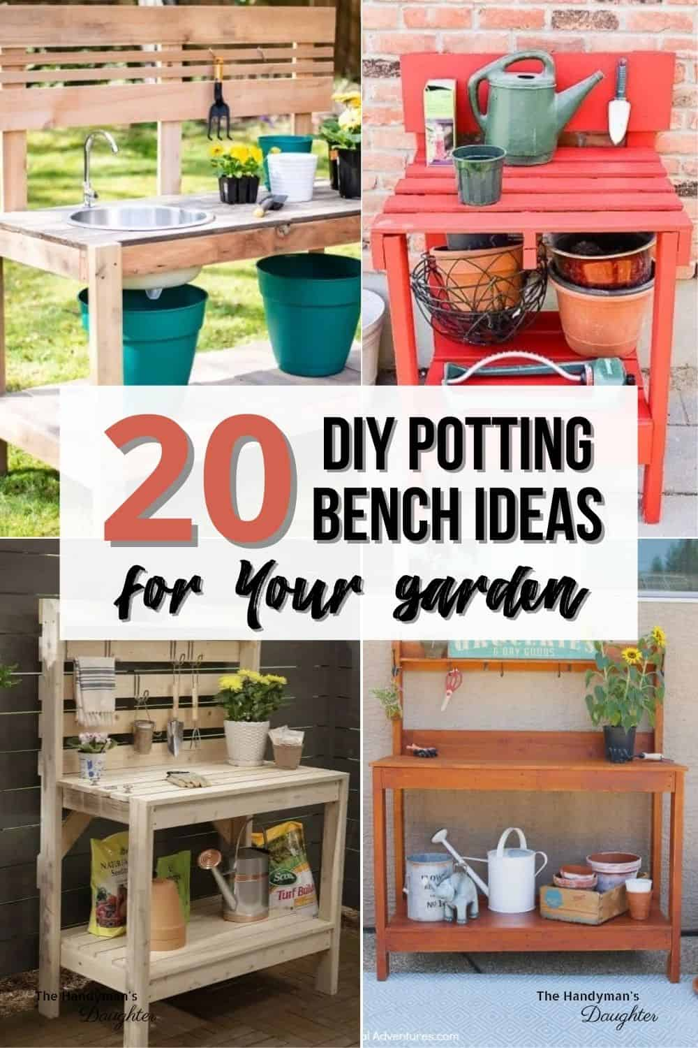 image collage of DIY potting benches