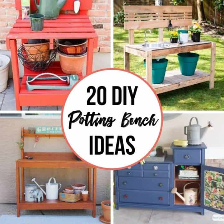 collage of DIY potting bench ideas