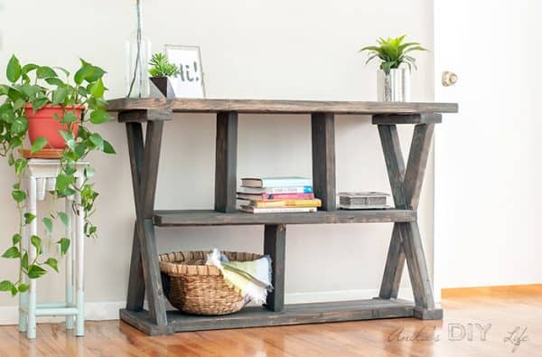 grey wood stain projects - X leg console table using Varathane Carbon Gray stain