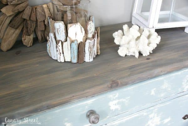 grey wood stain projects - dresser top stained with General Finishes Gray Gel Stain