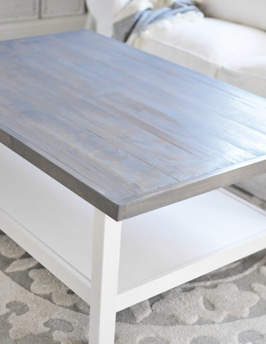 grey wood stain projects - IKEA coffee table stained with Varathane Weathered Gray