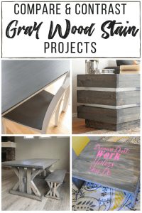 collage of four different grey wood stain projects