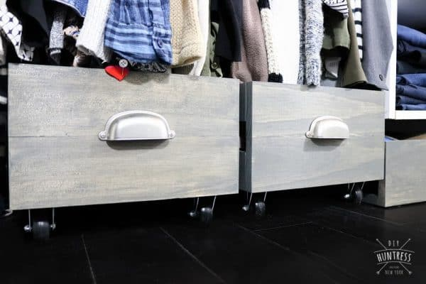 grey wood stain projects - rolling shoe bins using Varathane Carbon Gray stain
