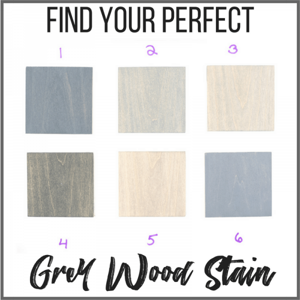 Find your perfect grey wood stain color with grid of wood samples