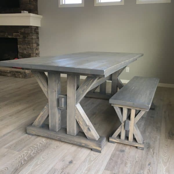 grey wood stain projects - farmhouse dining table using Varathane Weathered Gray stain