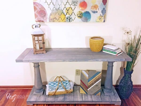 grey wood stain projects - Hazel & Gold balustrade console table using Minwax Classic Gray stain