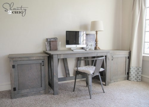 grey wood stain projects - desk stained with Varathane Weathered Gray