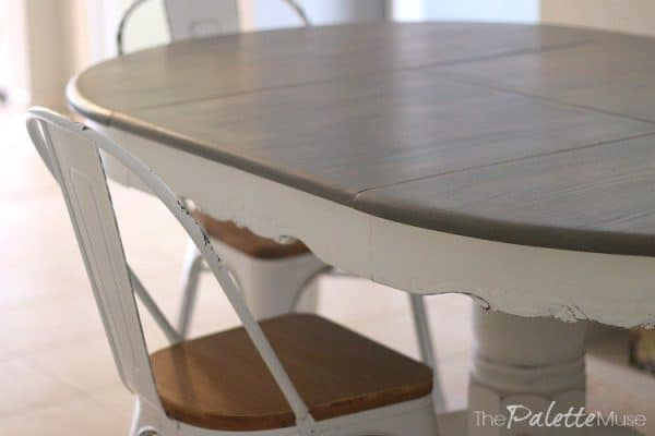 grey wood stain project - dining table makeover using Minwax Classic Gray