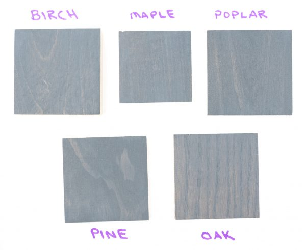 Wood samples with one coat of General Finishes grey wood stain