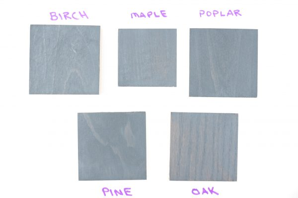 Wood samples with two coats of General Finishes grey wood stain