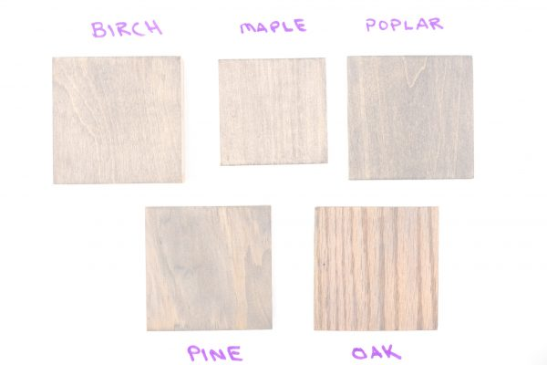 Sherwin Williams Gray Wood Stain color samples (2 coats)