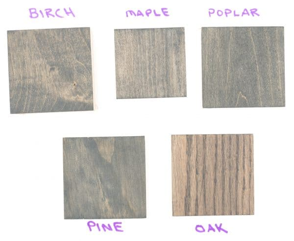 Varathane Carbon Gray wood stain samples (1 coat)