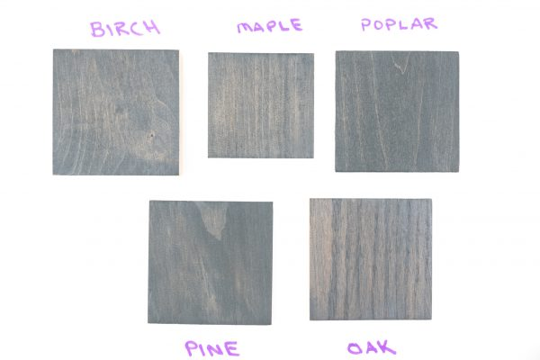 Varathane Carbon Gray wood stain samples (2 coats)