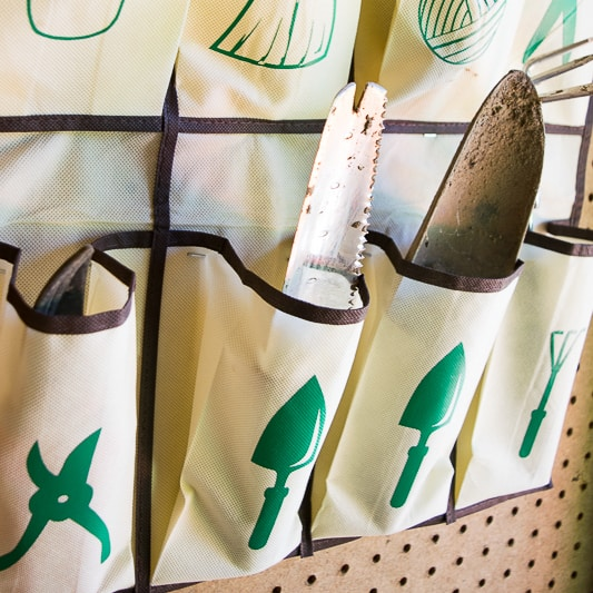 close up view of hanging garden tool organizer