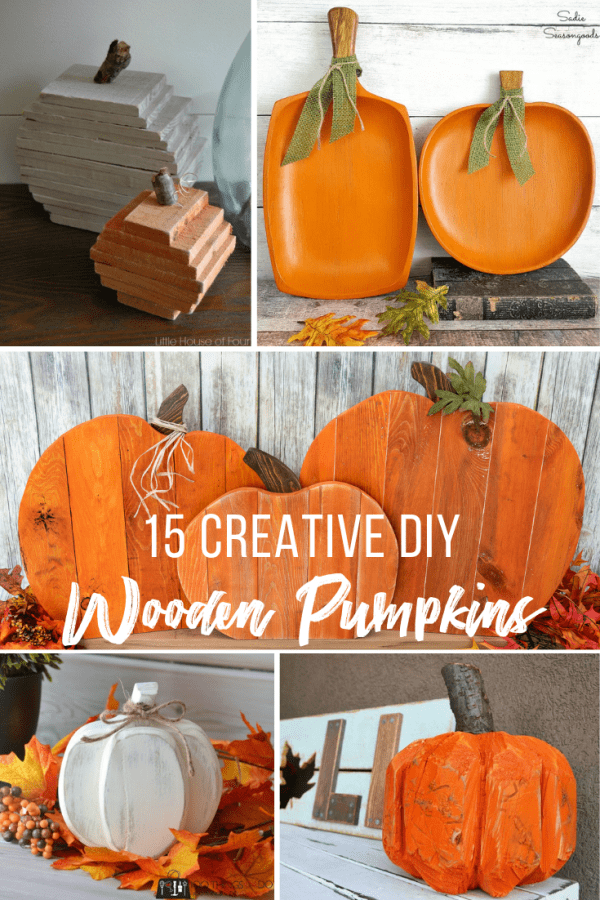 collage of wooden pumpkins