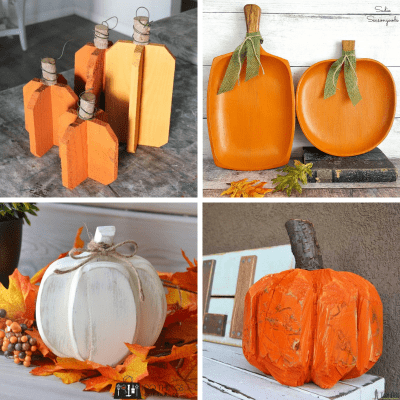 collage of four wooden pumpkin projects